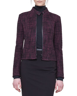 Akris punto Tweed Zip Biker Jacket