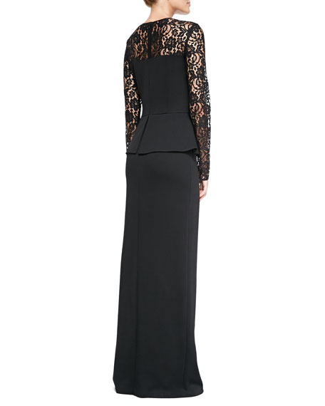 Double-Face Satin Crepe Gown with Lace Sleeves, Caviar