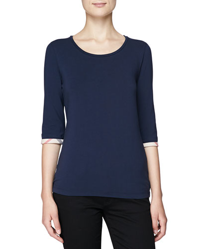 Burberry Brit 3/4-Sleeve Check-Cuff Scoop Tee, Navy