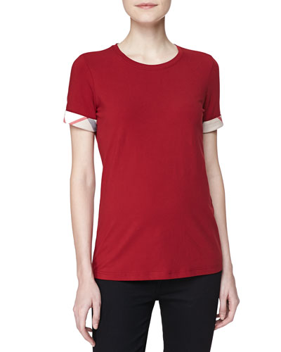 Long Check-Cuff Short-Sleeve Tee, Red