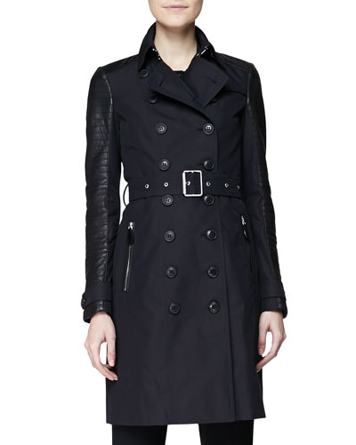 Burberry Brit Trenchcoat w/ Quilted Leather Sleeves
