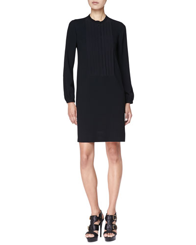 Burberry Brit Pintuck-Front Tunic Dress, Black