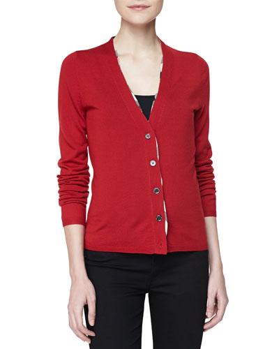 V-Neck Check-Trim Cardigan, Military Red