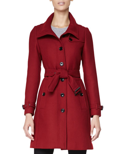 Burberry Brit Wool-Blend Trench Coat, Red