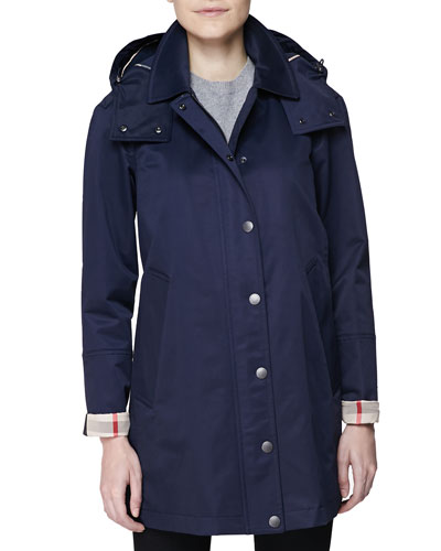Burberry Brit Hooded Check-Cuff A-Line Car Coat