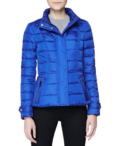 Burberry Brit Short Feminine Puffer Jacket, Sapphire Blue