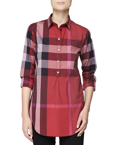 Burberry Brit Long-Sleeve Half-Button Check Top, Berry Red