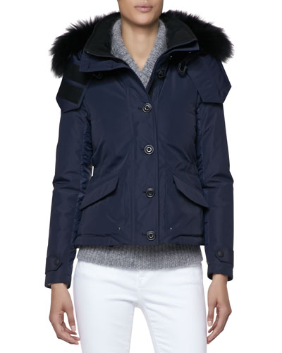 Mixed-Fiber Fur-Trim Ski Jacket, Indigo