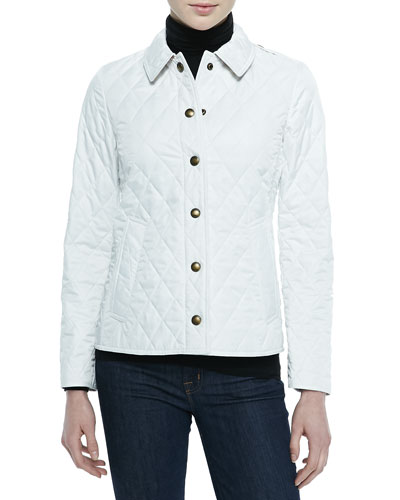 Diamond Quilted Snap Jacket, Chalk