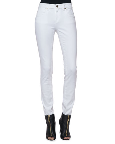 Stretch Slim Low-Rise Jeans, White