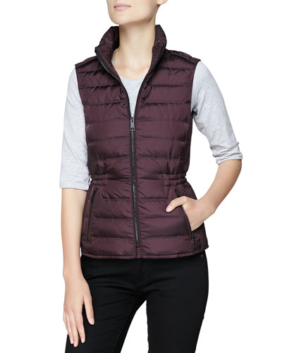Twin Needle Quilted Zip-Front Gilet, Dark Mahogany
