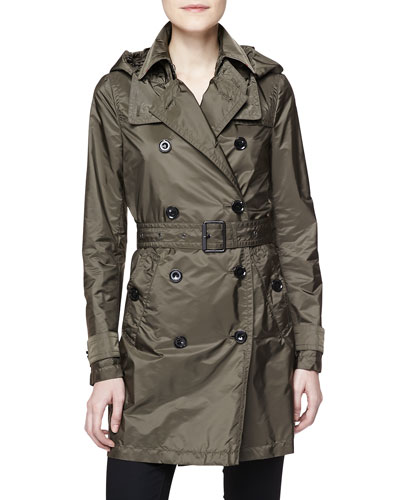 Double-Breasted Trench Coat, Military Olive