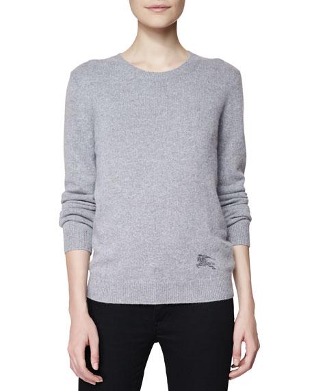 Crewneck Cashmere-Cotton Sweater, Gray