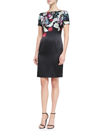 St. John Collection Midnight Floral-Print Stretch Satin Dress, Caviar