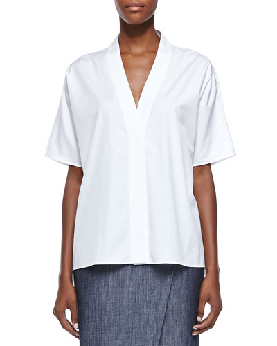 Adam Lippes Trapunto Envelope-Collar Poplin Shirt, White