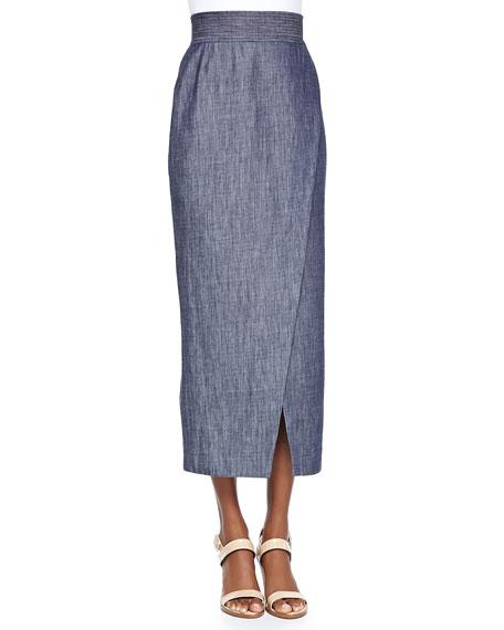 Long Wrap Skirt W/ Scissor Hem