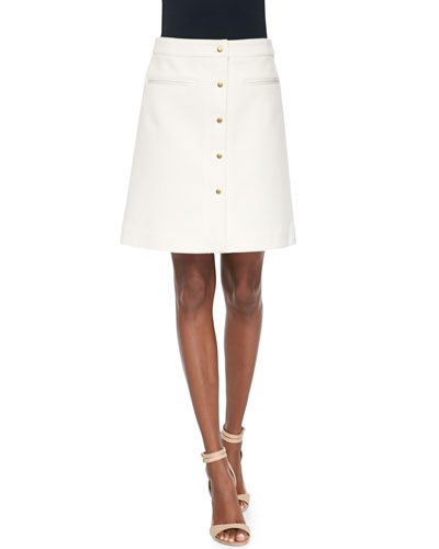 Adam Lippes A-Line Skirt with Front Snaps