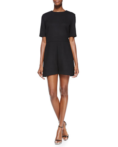 Crewneck Stretch-Wool Romper, Black