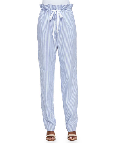 Adam Lippes Striped Paperbag-Waist Pants, Blue/White