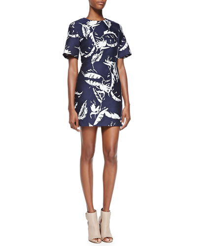 Leaf-Jacquard Sculpted Dress, Navy/White