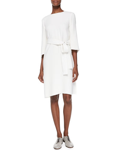 Adam Lippes Crescent-Sleeve Dress with Belt