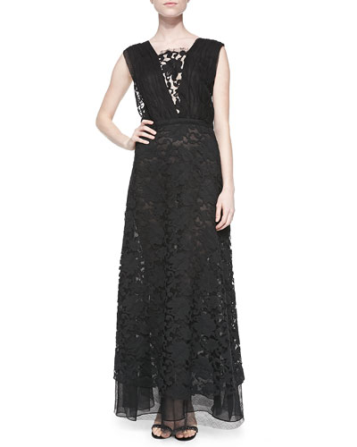 Double-Layer V-Neck Gown