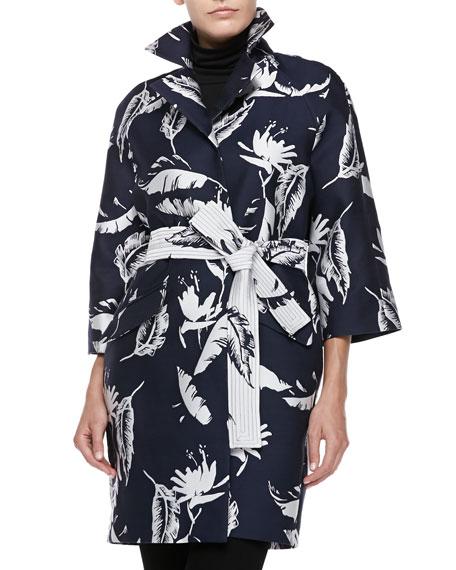 Adam Lippes Floral-Jacquard Opera Coat, Navye/White