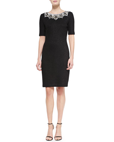 St. John Collection Micro Textured Sparkle Knit, Caviar