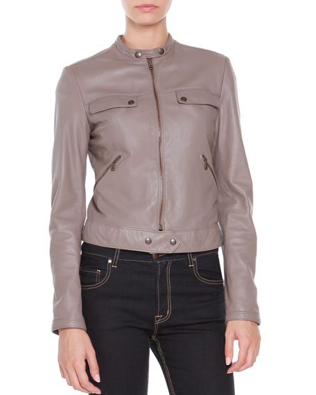 Tomas Maier Leather Zip-Front Jacket