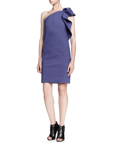 Lanvin Gathered Ruffle One-Shoulder Dress, Lavender