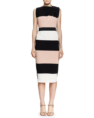 Lanvin Wide-Striped Draped-Shoulder Dress, Black/Nude