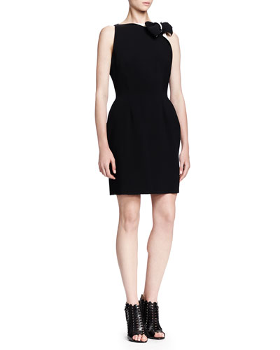 Lanvin Sleeveless Bicolor Bow-Neck Dress, Black