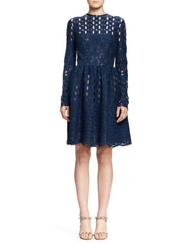 Lanvin Long-Sleeve Circle & Floral Lace Dress, Blue