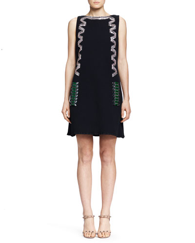 Lanvin Deco Beaded Shift Dress, Black