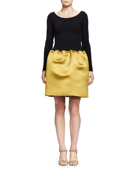 Lanvin Ballet Dress with Satin Pouf Skirt, Anise/Black