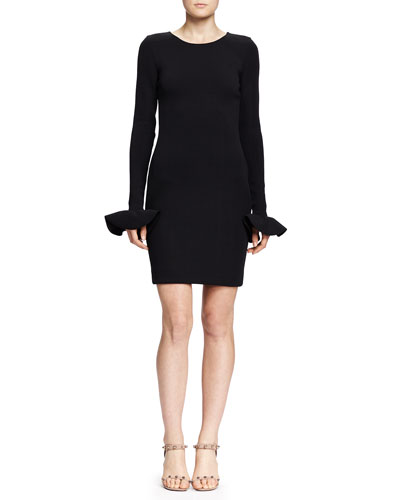 Lanvin Little Black Dress with Cuffed Long Sleeves