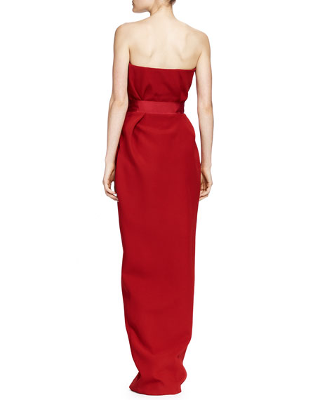 Silk Strapless Sweetheart Gown, Carmine Red