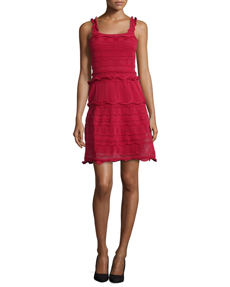 Scallop-Tiered Knit Tank Dress, Red
