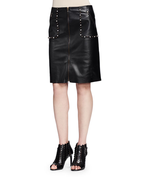 lanvin studded zip front leather skirt black