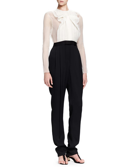 Lanvin Jumpsuit with Sheer Top & Full-Length Legs
