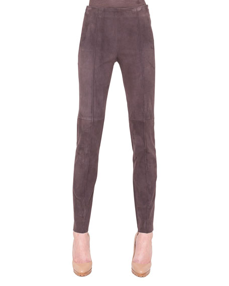 Melissa Suede Side-Zip Ankle Pants, Brown