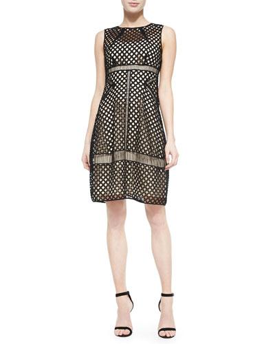 Sleeveless Mixed-Lace Dress