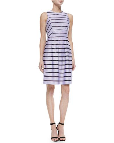 Full-Skirted Striped Dress, Lavender