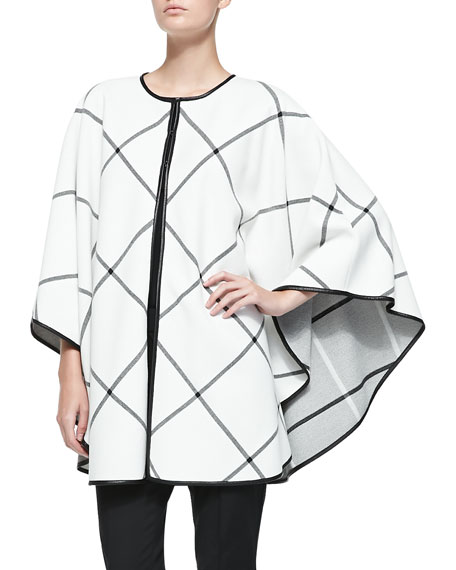 St. John Collection Milano Plaid Knit Cape, Cream/Caviar