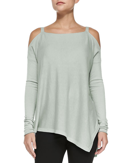 Cashmere Cold-Shoulder Asymmetric Top