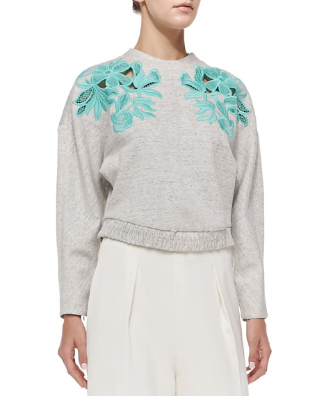 Embroidered Lace Sweatshirt