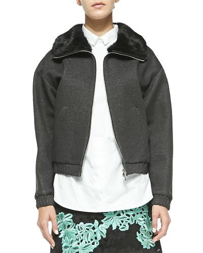 3.1 Phillip Lim Rabbit Fur Collared Jacket