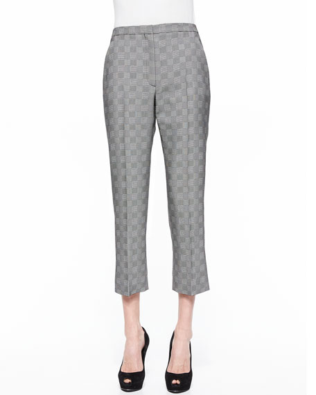 Alexander McQueen Prince Of Wales Cropped Flare Pants, Black/White