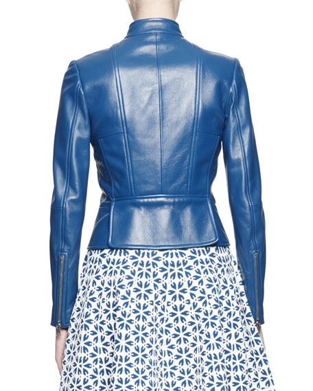 Band-Collar Glove Leather Jacket