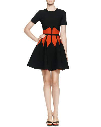Alexander McQueen Jewel-Neck Dress with Graphic Flame Waist